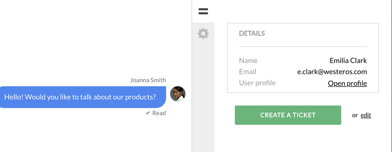Zendesk LiveChat: Customer's profile overview