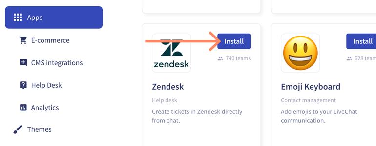 Zendesk LiveChat: Install Zendesk app to proceed