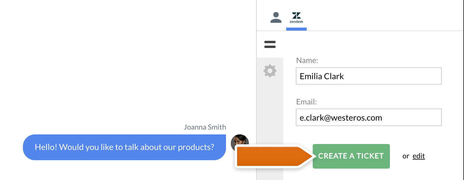 Zendesk LiveChat: send a simple ticket for new customer to Zendesk
