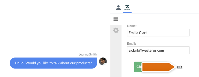 Zendesk LiveChat: click on Edit while creating a ticket for your new customer
