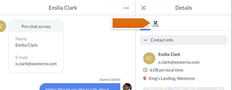 Zendesk LiveChat: Open Zendesk app