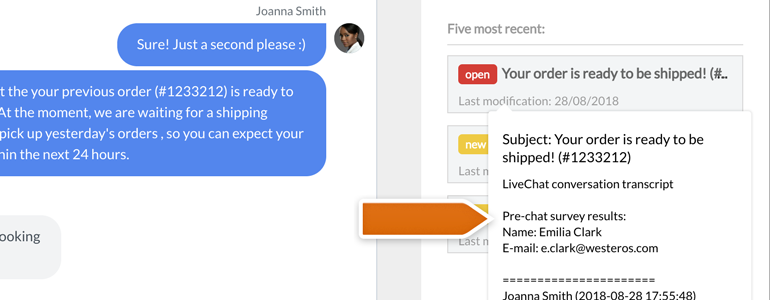 Zendesk LiveChat: hoover your mouse over ticket to preview it's content