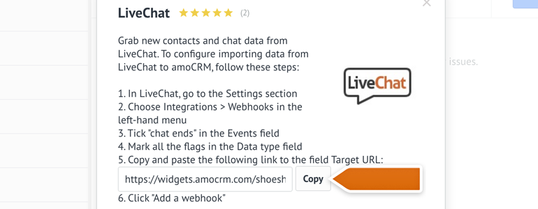 Copy the link of LiveChat's webhook