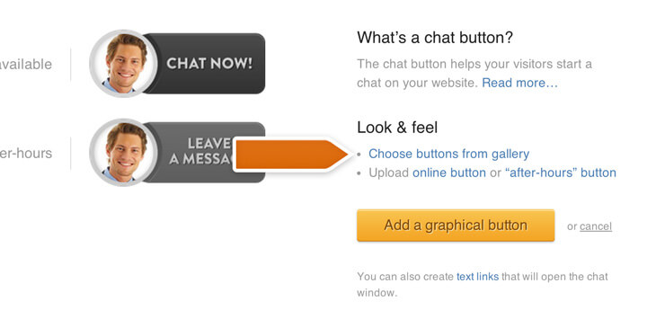 Choosing a chat button from gallery