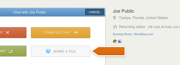 Sharing files through LiveChat