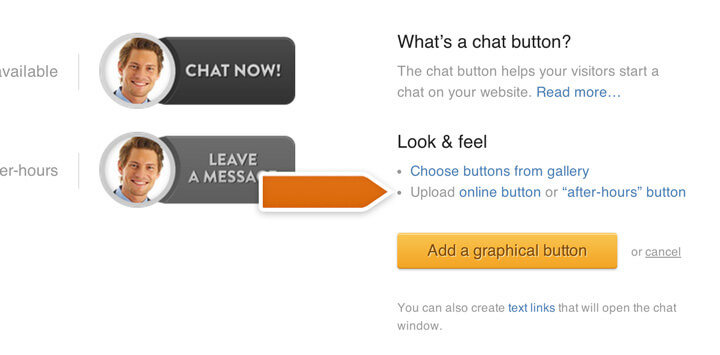Uploading a chat button