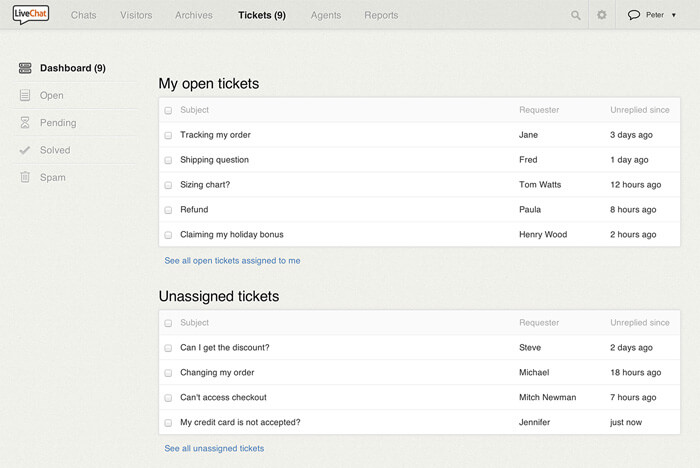 Tickets in LiveChat dashboard