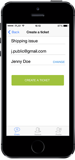 iPad and iPhone tickets in LiveChat apps