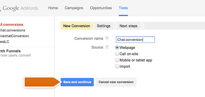 Setting up a new AdWords conversion
