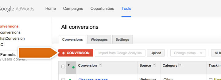 Adding AdWords conversion