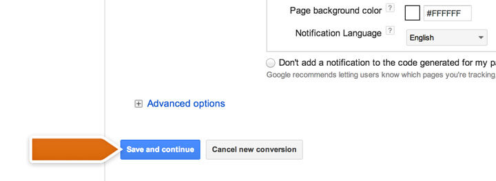 Finalizing AdWords conversion settings