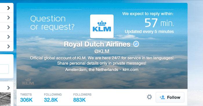 KLM's Twitter clock