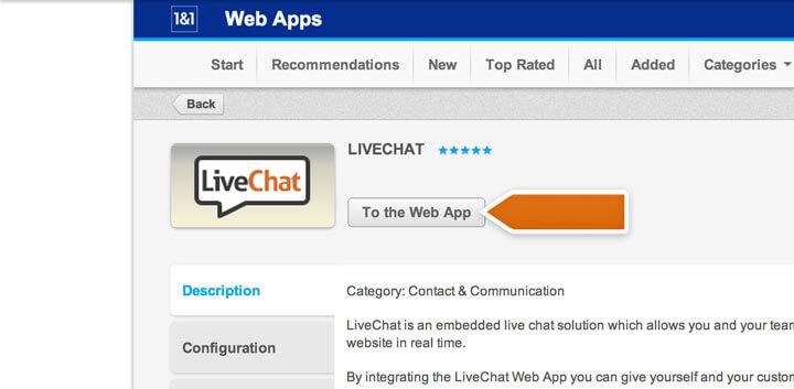 Proceeding to the 1&1 web app