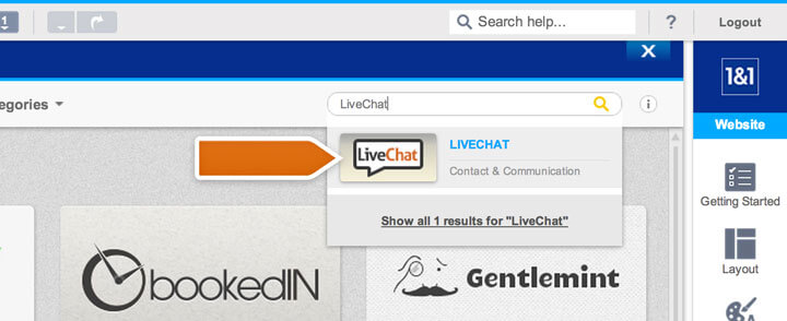 Searching for the LiveChat app