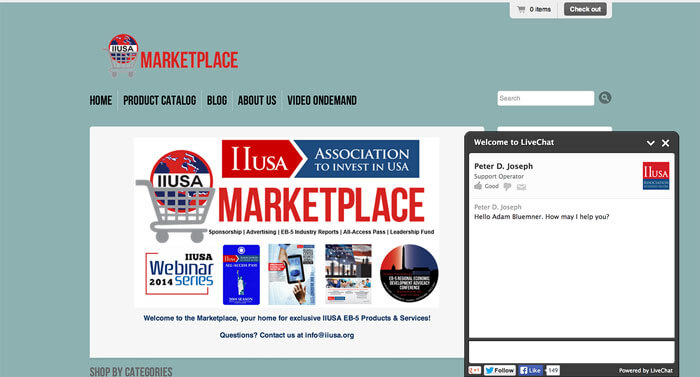 Chat on IIUSA marketplace