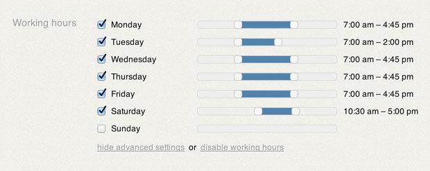 Work scheduler for days update