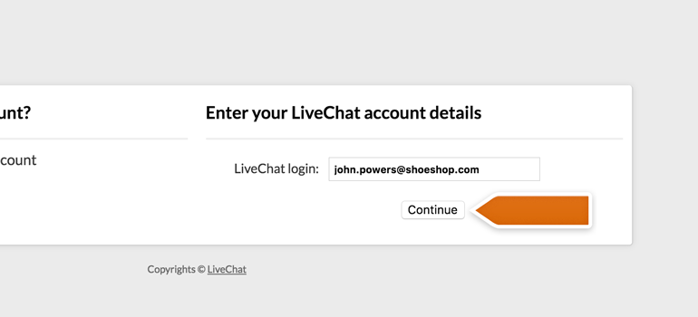 Entering LiveChat login