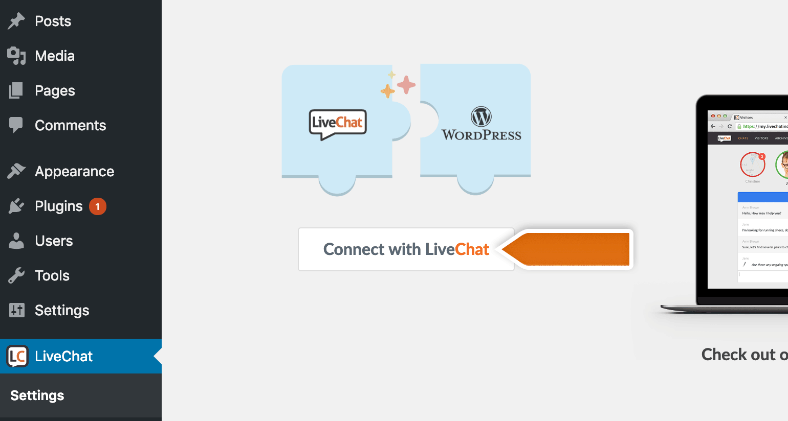 Click on connect with LiveChat