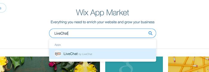 Wix integration: LiveChat in App Market