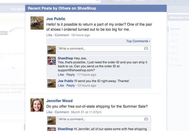 Facebook integration saves posts as tickets in LiveChat
