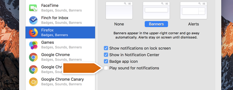 Disabling Firefox sound notifications