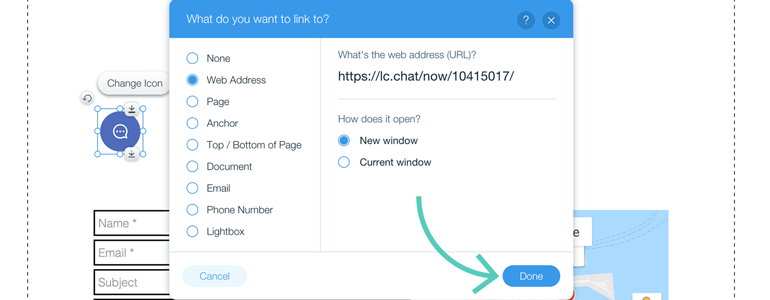 Wix integration: customizing chat button for mobile website