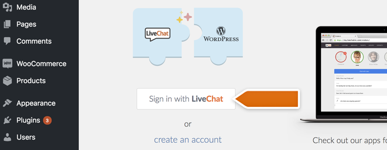 Click on Sign in with LiveChat