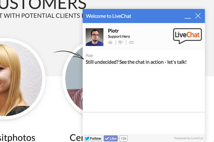 Long tail greeting in LiveChat
