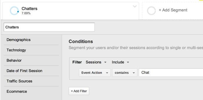 Setting up a segment in Google Analytics