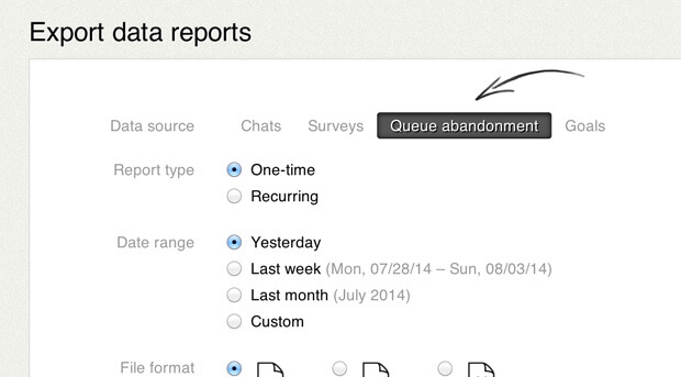 Queue abandonment exportable report in LiveChat