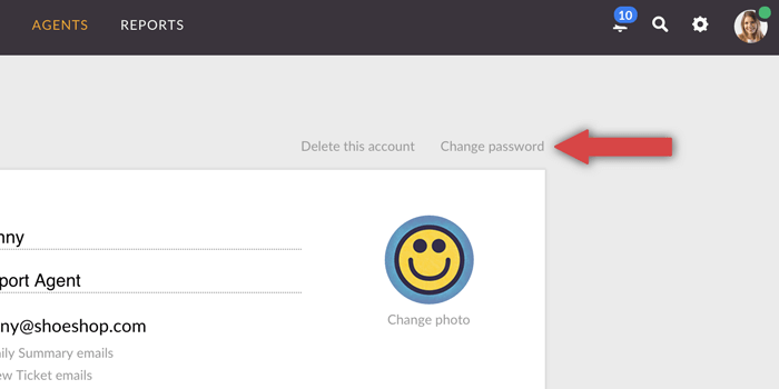 changing password for LiveChat agent