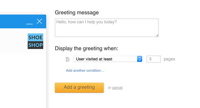 Greeting sent after seeing three pages