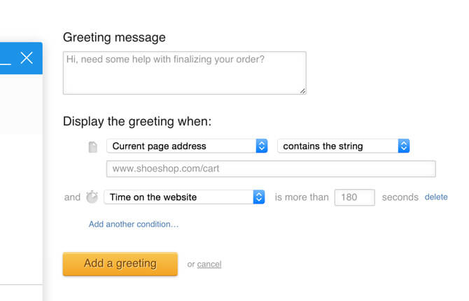 Cart saving greeting based on current page address