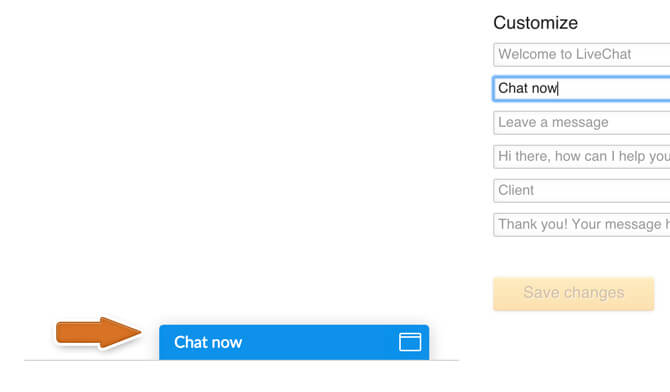 Changing chat window phrases in LiveChat