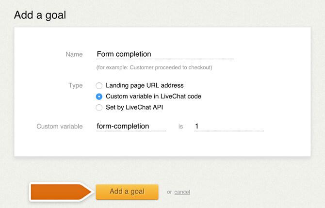 Creating a custom variables goal