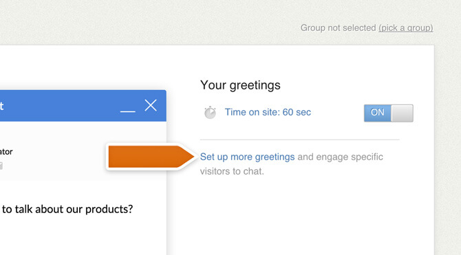 Creating a greeting in LiveChat