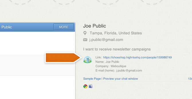 Visitor information from a CRM in LiveChat
