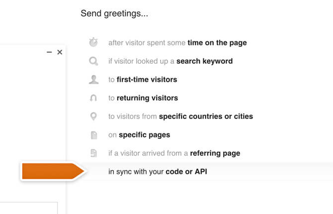 Setting up greeting in sync with code or API