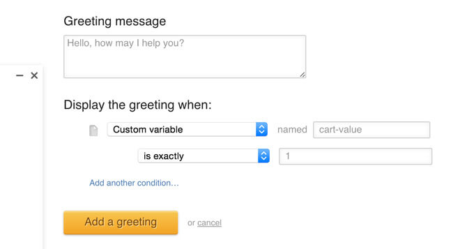 Setting up custom variables greeting