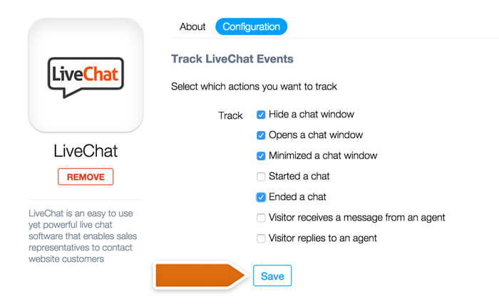 Configuring the LiveChat integration in Woopra