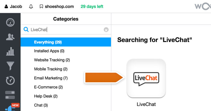 The LiveChat integration in Woopra
