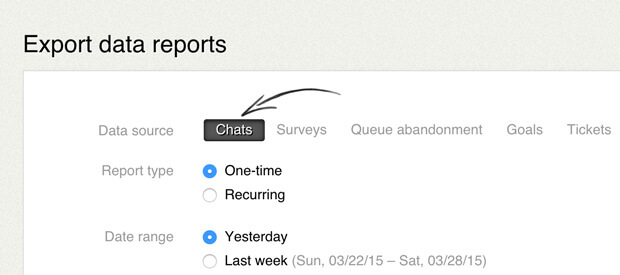 Export response time reports in LiveChat