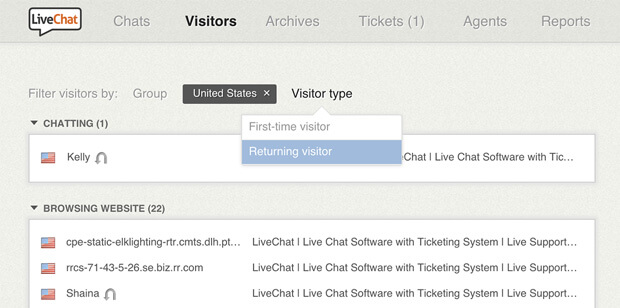 New LiveChat filtering
