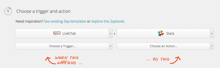 Selecting LiveChat and Slack in Zapier