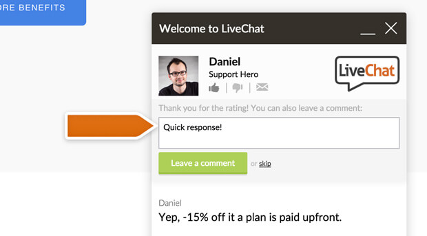 Rate comments option in LiveChat