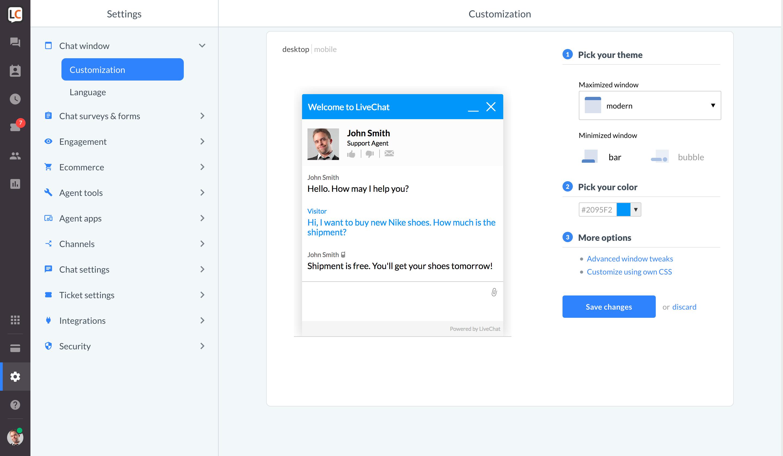 Chat customization in WebApp - screen