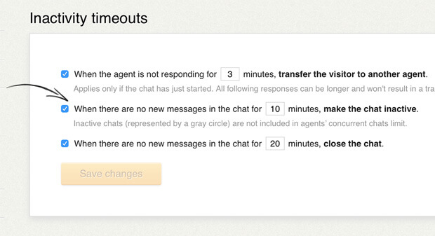 Custom chat inactivity timeouts in LiveChat