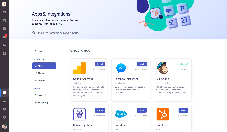 live chat app marketplace