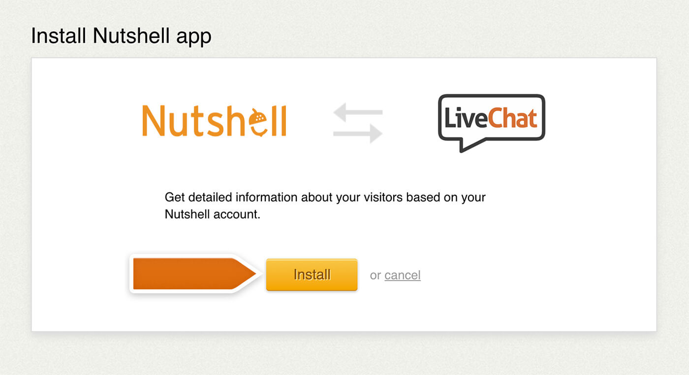 Installing the Nutshell integration in LiveChat