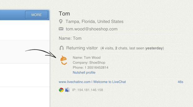 Nutshell integration with LiveChat